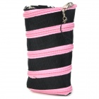 Creative Zipper PP Carrying Pouch for iPhone 4 / 4S / 5 - Black + Pink