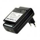 USB US Plug Battery Charger for Sony Xperia ZR/ M36h/ C5502/BA950 w/ EU Plug Adapter - Black