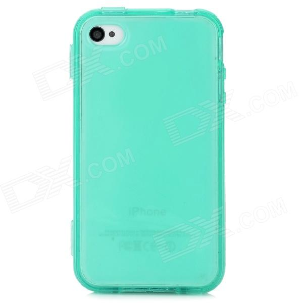 Fashionable Flip-open Non-slip Protective Silicone Case for Iphone 4S / 4 - Translucent Green protective silicone case for nds lite translucent white