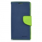 Stylish Flip-open Protective PU Leather Case w/ Holder for SONY L35h - Green + Deep Blue