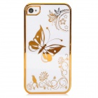 Butterfly Pattern Protective Plastic Back Case for Iphone 4 / 4S - Golden