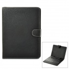 "80-Key QWERTY Micro USB Wired Keyboard with Protective PU Leather Case for 8"" Tablet  - Black"