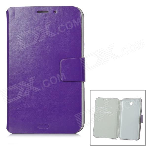 Protective PU Leather Case w/ Card Slot for Samsung Galaxy Tab3 P3200 - Purple protective pu leather case w card slot for samsung galaxy tab3 p3200 deep pink