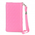 Check Pattern Wallet Style Protective PU Leather Flip-Open Case for Iphone 5 - Deep Pink