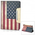 Retro American Flag Pattern Flip-open PU Leather Smart Case w/ Holder & Card Slot for iPad Mini
