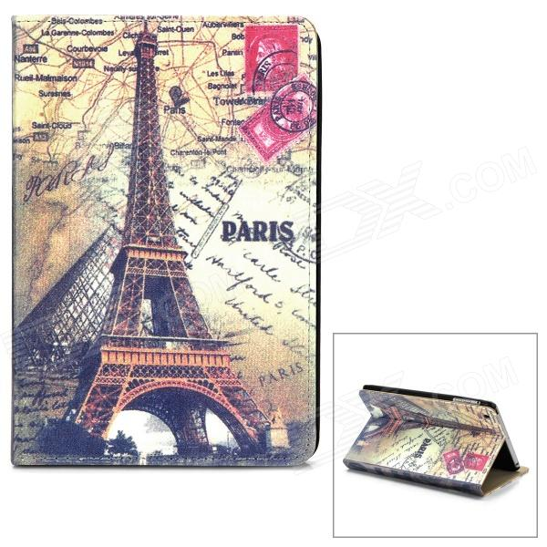 Retro Eiffel Tower Pattern Flip-open PU Leather Case w/ Holder for Ipad MINI - Multicolored stylish eiffel tower pattern pu leather flip open case w stand for ipad air grey white