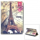 Retro Eiffel Tower Pattern Flip-open PU Leather Case w/ Holder for Ipad MINI - Multicolored