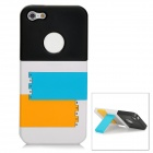 Detachable Protective Plastic Back Case w/ Stand for Iphone 5 - Black + White + Blue + Yellow