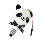 Panda Style Capacitive Screen Stylus Pen w/ Anti-Dust Plug / Screen Cleaner for Cell Phone - Black