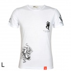 Men's Retro Traditional Chinese Pattern Cotton T-shirt - White (L)