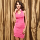 LC2571 Sexy Fashionable Banded X Backless Zipper Dress for Women - Pink (Size-L)
