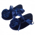 Cute Flower Flannelette Satins Lace-up Baby Shoes - Deep Blue (3~6 Months / Pair)