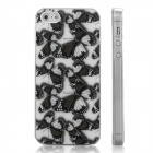 ENKAY Brown Butterfly Pattern Protective Plastic Back Case for Iphone 5 - White + Brown + Black