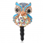 Stilvolle Owl Stil Strass + Albronze 3.5mm Anti-Staub-Stecker für iPhone + More - Sky Blue + Golden