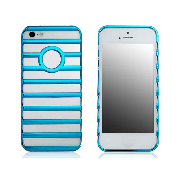 Hollow-out Ladder Style Protective Plastic Back Case for Iphone 5 - Blue a1lj hollow out butterfly style protective plastic back case for iphone 5 5s blue purple