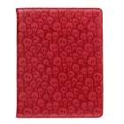 Cool Skull Pattern Rotatable Protective PU Leather Case Stand for Ipad 2 / 3 / 4 - Red