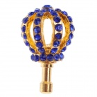 Stylish Crown Style Rhinestone + Albronze 3.5mm Anti-dust Plug for Iphone 4S + More - Blue + Golden