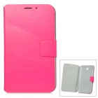 Protective PU Leather Case w/ Card Slot for Samsung Galaxy Tab3 P3200 - Deep Pink