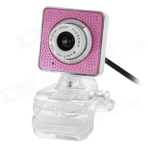 MHD-XFK-01-FENSE USB 2.0 300KP Computer Webcam w/ Clamp - Pink + White