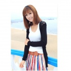 Lace Flower Design Thin Woolen Yarn Knitting Sweater - Black