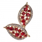 Fashionable Shiny Leaf Style Rhinestone + Albronze Women's Earrings - Red + Golden + Silver (Pair)