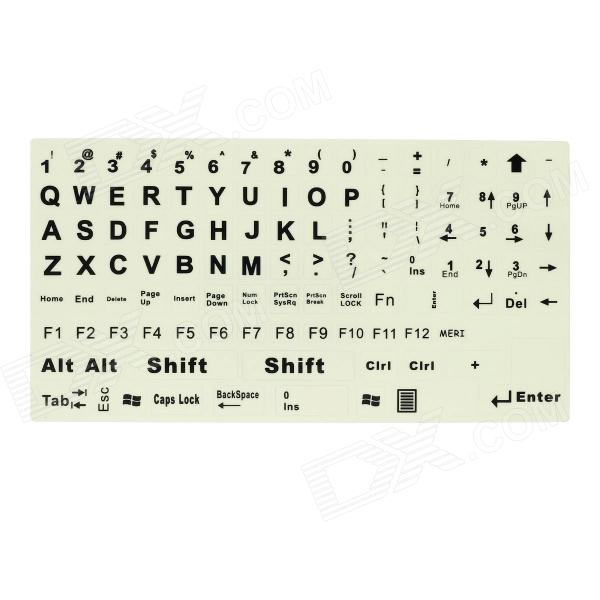 Fluorescent Glow-in-the-Dark Large Letter English keyboard Sticker - Black + Light Yellow