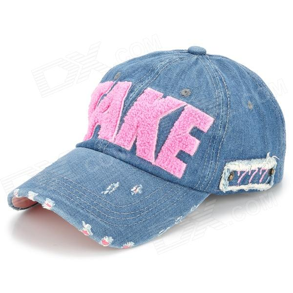 Letter u0026quot;TAKEu0026quot; Pattern Jeans Cloth Baseball Cap / Hat - Blue + Red - Free Shipping - DealExtreme