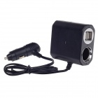 WF-6031 1-to-3 Car Cigarette Lighter Power Splitter Adapter w/ Dual-USB Output - Black (DC 12 / 24V)