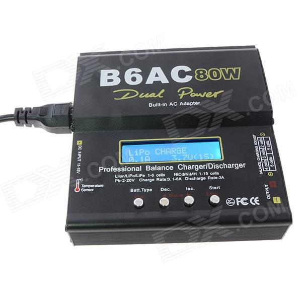 Lipo B6AC 80W Battery Balance Charger Adapter for RC Helicopter - Black (EU Plug / 100~240V) 10cm 100mm rc lipo battery balance charger plug 2s 3s 4s 5s 6s cable for rc helicopter 10 pcs