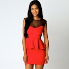 LC2801-3 Sexy Fashionable Gold Studs Peplum Dress for Women - Red (Size-L)