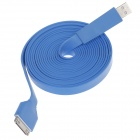 Flat 30-Pin Male to USB 2.0 Male Data Sync / Charging Cable for iPhone 4 / 4S / iPad 2 / 3 - Blue