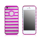 Hollow-out Ladder Style Protective Plastic Back Case for Iphone 5 - Deep Pink