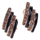 Fashionable Gorgeous Rhinestone Decorated Women's Earrings - Golden + Black (Pair)