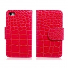 Crocodile Pattern Protective PU Ledertasche w / Card Slots für iPhone 5 - Red