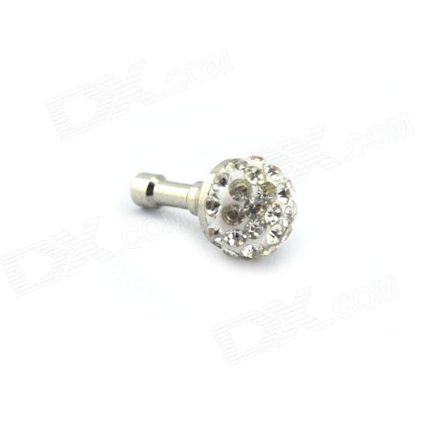Round Style Rhinestone 3.5mm Audio Anti-Dust Plug for Iphone / Ipad / Cell Phone -  White