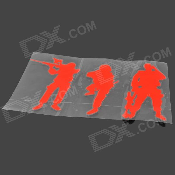 FIL Army Soldiers Style PVC Decorative Car Sticker - Red auto accessories chameleon sticker 30m 1 52m functional car pvc red copper color stickers home decorative films stickers