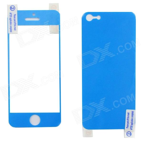 22010308 Protective Front + Back Skin Sticker Protector for Iphone 5 - Blue