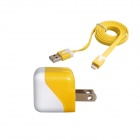 AC Power Charger Adapter + Lightning 8-Pin Cable for iPhone 5 / iPad 4 - Yellow + White (US Plug)