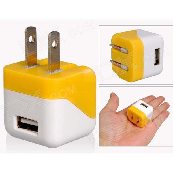 AC Power Charger Adapter for Iphone Ipad Ipod HTC Samsung - White + Yellow (US Plug / 100~240V) universal 4 port usb 5v 2 1a ac power charger adapter for iphone samsung htc white eu plug