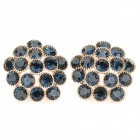 KCCHSTAR Elegant 18K Gold Plating Shiny Crystal Flower Earrings - Sapphire Blue + Golden