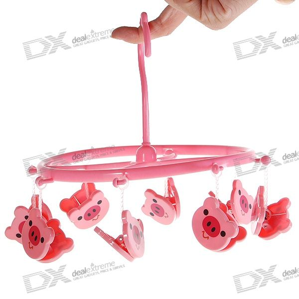 Cute Piggy Plastic Clothes Peg Hanger (8-Clip)