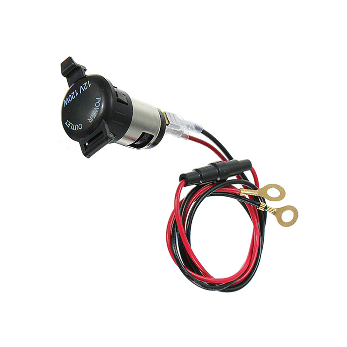 12V 120W Car / Motorcycle Power Socket Outlet w/ Fuse - Black + Red + Silver