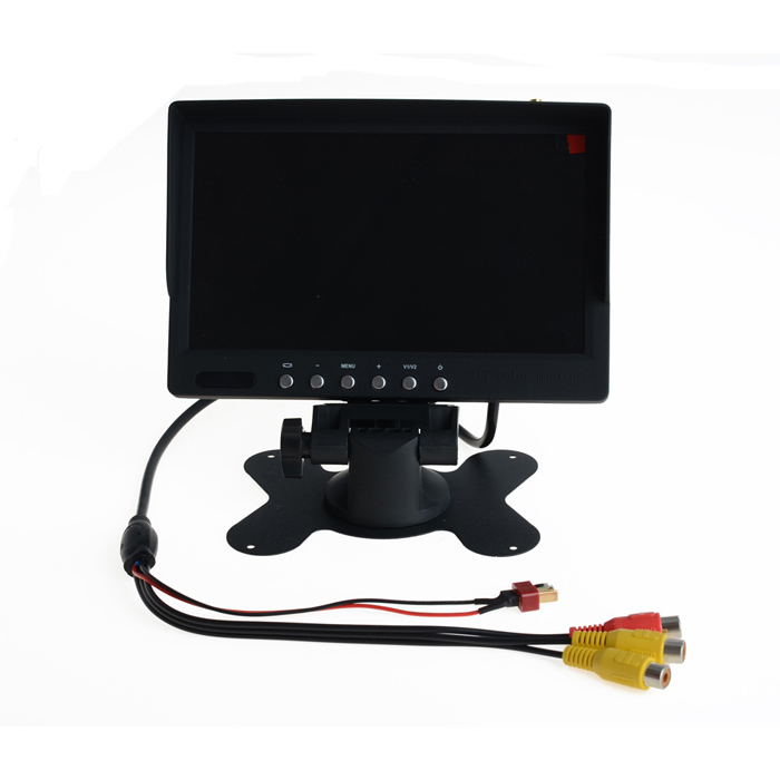 5.8G 7 TFT LCD Monitor Built in Receiver w/ 2dB Antenna / Lens Hood for FPV System - Black 2pcs fpv 7 inch monitor displayer pvr 732 built in battery dual 32ch 5 8ghz diversity receivers hd screen free shipping