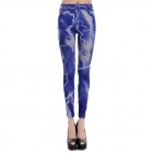 LC79244 Fashionable Lightening Jeans Style Legging for Women - Blue (Size-L)