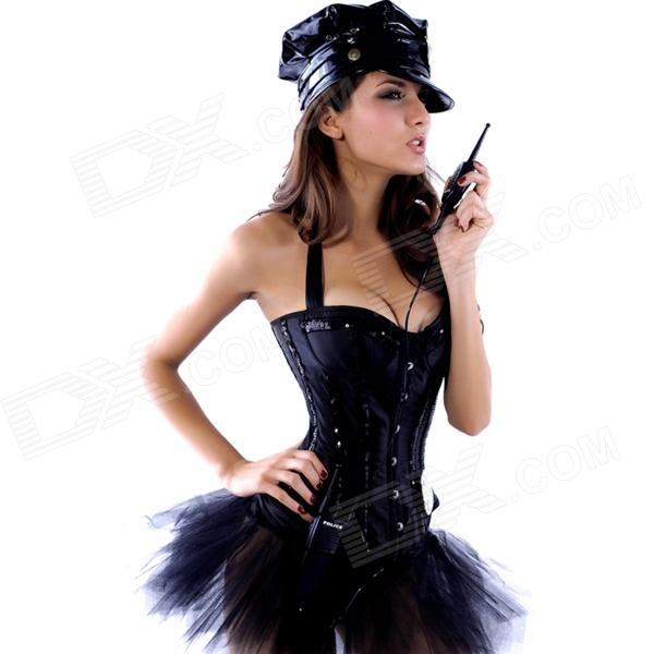 Sexy Sequin Neck Line Corset for Women - Black (Size-L)