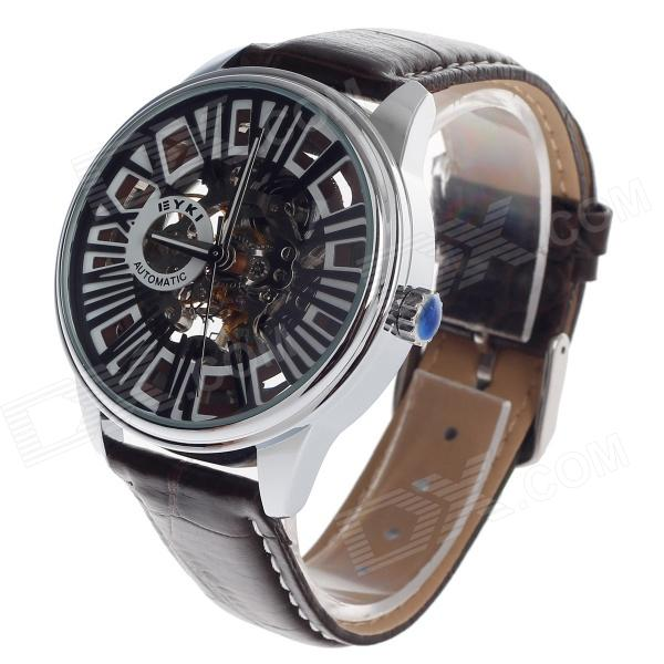 EYKI EFL8560G Double-Sided Hollow Five-Hand Stopwatch Automatic Men's Wrist Watch - Brown + Silver все цены