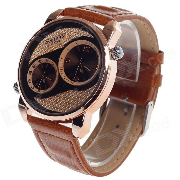 EYKI EOV8571G-RG Fashionable Men's Analog Dual-Quartz Wrist Watch - Brown + Golden (1 x LR626) diniho fashion lady s pu leather band round dial quartz waterproof wrist watch black 1 x lr626
