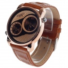 EYKI EOV8571G-RG Fashionable Men's Analog Dual-Quartz Wrist Watch - Brown + Golden (1 x LR626)