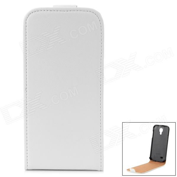 Protective Cow Split Leather Top Flip-Open Case for Samsung Galaxy S4 Mini / i9190 - White