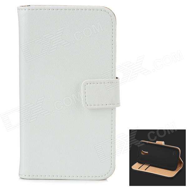 Fashionable Flip-open Protective Leather Case w/ Card Slot & Holder for Samsug S4 Mini i9190 - White